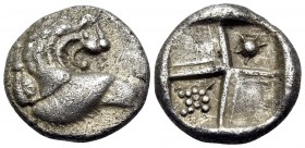 THRACE. Chersonesos. Circa 386-338 BC. Hemidrachm (Silver, 12.5 mm, 2.34 g, 3 h), Contemporary imitation. Forepart of a lion to left, his head turned ...
