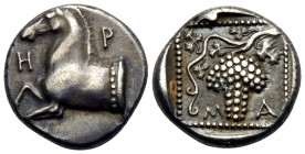 THRACE. Maroneia. Circa 398/7-348/7 BC. Triobol (Silver, 14 mm, 2.77 g, 10 h). H-P Forepart of a horse to left. Rev. Μ-Α Grape bunch on vine; all with...