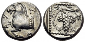 THRACE. Maroneia. Circa 398/7-386/5 BC. Triobol (Silver, 14 mm, 2.88 g, 8 h). A-N-Θ Forepart of horse to left. Rev. MA Grape bunch on vine; in lower l...
