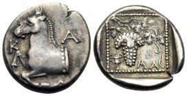 THRACE. Maroneia. Circa 398/7-348/7 BC. Triobol (Silver, 15 mm, 2.65 g, 7 h). K-A Forepart of a horse to left. Rev. ΜΑ Grape bunch on vine; in lower l...