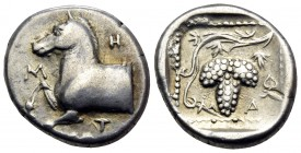 THRACE. Maroneia. Circa 398/7-386/5 BC. Triobol (Silver, 14.5 mm, 2.74 g, 9 h). M-H-T Forepart of horse to left. Rev. M-A Grape bunch on vine; in righ...