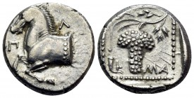 THRACE. Maroneia. Circa 398/7-386/5 BC. Triobol (Silver, 13 mm, 2.60 g, 2 h). Π-Λ Forepart of horse to left. Rev. MA Grape bunch on vine; in lower lef...