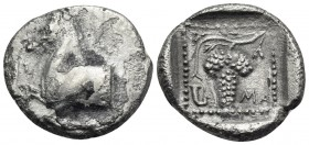 THRACE. Maroneia. Circa 398/7-386/5 BC. Triobol (Silver, 15.5 mm, 2.61 g, 5 h). Π-Λ Forepart of horse to left. Rev. MA Grape bunch on vine; in lower l...