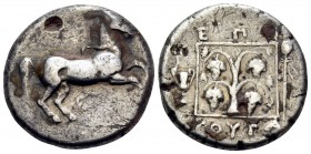 THRACE. Maroneia. Circa 398/7-348/7 BC. Stater (Silver, 22.5 mm, 10.34 g, 11 h), struck under the magistrate Boytas. Horse prancing to right. Rev. EΠI...