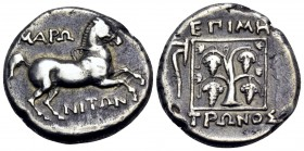 THRACE. Maroneia. Circa 386/5-348/7 BC. Stater (Silver, 24 mm, 10.94 g, 8 h), struck under the magistrate Metronos. ΜΑΡΩ-ΝΙΤΩΝ Horse prancing to right...