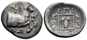 THRACE. Maroneia. Circa 386/5-348/7 BC. Triobol (Silver, 17.5 mm, 2.21 g, 5 h), struck under the magistrate Aristoleos. M-A/PΩ Forepart of horse to ri...