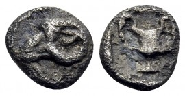 THRACE. Maroneia(?). 5th-4th centuries BC. Hemiobol (Silver, 6 mm, 0.22 g, 1 h). Head of ram to left. Rev. Kantharos within incuse square. Tzamalis 49...
