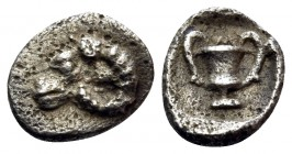 THRACE. Maroneia(?). 5th-4th centuries BC. Hemiobol (Silver, 7 mm, 0.25 g, 9 h). Head of ram to left. Rev. Kantharos; above, M; all within incuse squa...