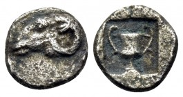 THRACE. Maroneia(?). 5th-4th centuries BC. Hemiobol (Silver, 6.5 mm, 0.26 g, 11 h). Head of ram to left. Rev. Kantharos within incuse square. Tzamalis...