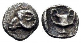 THRACE. Maroneia(?). 5th-4th centuries BC. Hemiobol (Silver, 5.5 mm, 0.25 g, 2 h). Head of ram to left. Rev. Kantharos within incuse square. Tzamalis ...