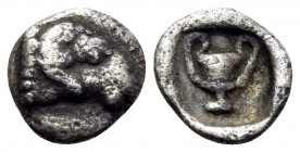 THRACE. Maroneia(?). 5th-4th centuries BC. Hemiobol (Silver, 6.5 mm, 0.25 g, 1 h). Head of ram to right. Rev. Kantharos within incuse square. Tzamalis...