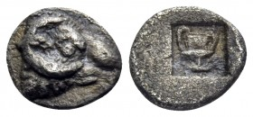 THRACE. Maroneia(?). 5th-4th centuries BC. Hemiobol (Silver, 7 mm, 0.26 g, 6 h). Head of ram to right. Rev. Kantharos within incuse square. Tzamalis 5...