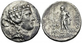 THRACE. Maroneia. Circa 189/8-49/5 BC. Tetradrachm (Silver, 29.5 mm, 16.02 g, 12 h), circa 150s BC. Head of youthful Dionysos to right, wearing taenia...