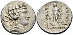 THRACE. Maroneia. Circa 189/8-49/5 BC. Tetradrachm (Silver, 30 mm, 16.47 g, 11 h), circa 150s BC. Head of youthful Dionysos to right, wearing taenia a...