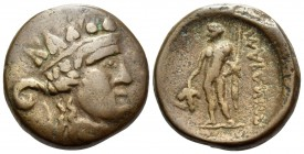 THRACE. Maroneia. 1st century BC. (Bronze, 17 mm, 5.70 g, 12 h). Wreathed head of Dionysos to right. Rev. ΜΑΡΩΝΙΤΩΝ (retrograde) Dionysos standing fac...