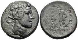 THRACE. Maroneia. Circa 189/8-49/5 BC. (Bronze, 26.5 mm, 15.98 g, 12 h). Head of youthful Dionysos to right, wearing ivy wreath. Rev. ΔΙΟΝVΣΟV / ΣΩΤΗΡ...