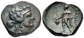 THRACE. Maroneia. 1st century BC. (Bronze, 17.5 mm, 6.77 g, 12 h). Wreathed head of Dionysos to right. Rev. ΜΑΡΩΝΙΤΩ[Ν] Dionysos standing facing, head...