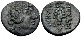 THRACE. Mesambria. Circa late 1st Century BC. (Bronze, 21 mm, 5.04 g, 11 h). Wreathed head of beardless Dionysos to right. Rev. MEΣAM-BΡIANΩN Grape bu...