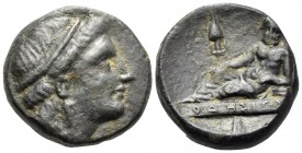 THRACE. Odessos. mid 3rd century BC. (Bronze, 16 mm, 5.62 g, 2 h). Female head to right, wearing tainia. Rev. Odessos reclining to left on plinth insc...