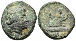 THRACE. Odessos. mid 3rd century BC. (Bronze, 17 mm, 4.69 g, 7 h). Female head to right, wearing tainia. Rev. [ΟΔΗΣΙΤ]ΩΝ Odessos reclining to left on ...