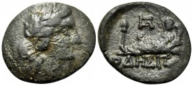 THRACE. Odessos. Circa 115/05-72/1 BC. (Bronze, 19 mm, 3.61 g, 12 h). Laureate head of Apollo to right. Rev. ΟΔΗΣΙΤ Odessos reclining to left, holding...