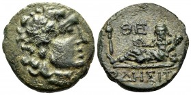 THRACE. Odessos. Circa 115/05-72/1 BC. (Bronze, 16 mm, 2.69 g, 12 h). Laureate head of Apollo to right. Rev. ΟΔΗΣΙΤΩ[Ν] Odessos reclining to left on r...