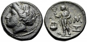 THRACE. Sestos. Circa 300 BC. Trichalkon (Bronze, 18 mm, 4.85 g, 12 h). Wreathed head of Persephone to left. Rev. ΣΗ Hermes standing left, holding ker...
