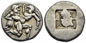 ISLANDS OFF THRACE, Thasos. Circa 500-463 BC. Drachm (Silver, 15 mm, 3.90 g), c. 500-480 BC. Archaic-style Ithyphallic satyr advancing to right, carry...