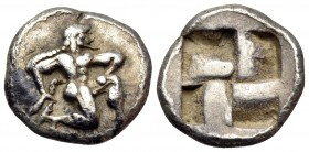 ISLANDS OFF THRACE, Thasos. 500-480 BC. Trihemiobol or 1/8 Stater (Silver, 11.5 mm, 1.13 g). Archaic-style Satyr running to right. Rev. Quadripartite ...