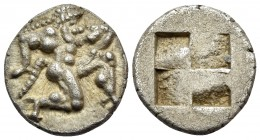 ISLANDS OFF THRACE, Thasos. 500-480 BC. Trihemiobol or 1/8 Stater (Silver, 11.5 mm, 1.00 g). Archaic-style Satyr running to right. Rev. Quadripartite ...