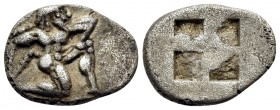 ISLANDS OFF THRACE, Thasos. 500-480 BC. Trihemiobol or 1/8 Stater (Silver, 11.5 mm, 0.82 g). Archaic-style satyr running to right. Rev. Quadripartite ...