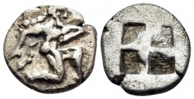 ISLANDS OFF THRACE, Thasos. 500-480 BC. Trihemiobol or 1/8 Stater (Silver, 10 mm, 0.92 g). Archaic-style satyr running to right. Rev. Quadripartite in...