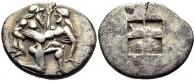 ISLANDS OFF THRACE, Thasos. Circa 480-463 BC. Stater (Silver, 24.5 mm, 8.97 g). Archaic-style Ithyphallic satyr advancing to right, carrying protestin...