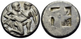 ISLANDS OFF THRACE, Thasos. Circa 412-404 BC. Stater (Silver, 20 mm, 8.46 g). Ithyphallic satyr advancing to right, carrying protesting nymph; to righ...