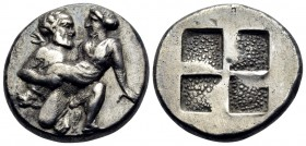 ISLANDS OFF THRACE, Thasos. Circa 412-404 BC. Drachm (Silver, 15 mm, 3.44 g). Ithyphallic satyr advancing partly to right, carrying protesting nymph. ...