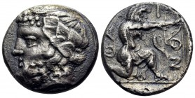 ISLANDS OFF THRACE, Thasos. Circa 411-340 BC. Drachm (Silver, 16 mm, 3.75 g, 8 h). Bearded head of Dionysos to left, wearing ivy wreath with berries a...