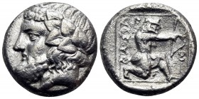 ISLANDS OFF THRACE, Thasos. Circa 411-340 BC. Drachm (Silver, 14.5 mm, 3.52 g, 8 h). Bearded head of Dionysos to left, wearing ivy wreath with berries...