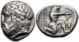 ISLANDS OFF THRACE, Thasos. Circa 411-340 BC. Tetradrachm (Silver, 25 mm, 15.19 g, 3 h). Bearded head of Dionysos to left, wearing ivy wreath with ber...