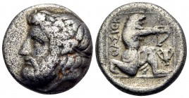ISLANDS OFF THRACE, Thasos. Circa 411-340 BC. Drachm (Silver, 15 mm, 3.58 g, 1 h). Bearded head of Dionysos to left, wearing ivy wreath with berries a...
