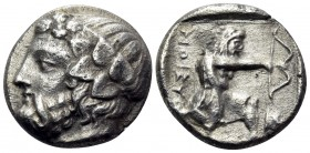ISLANDS OFF THRACE, Thasos. Circa 411-340 BC. Drachm (Silver, 14.5 mm, 3.52 g, 6 h). Bearded head of Dionysos left, wearing ivy wreath. Rev. ΘAΣIΩN He...