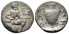 ISLANDS OFF THRACE, Thasos. Circa 411-340 BC. Trihemiobol (Silver, 11.5 mm, 0.83 g, 10 h). Satyr kneeling to right, his head turned 3/4 facing, holdin...