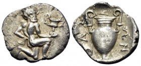 ISLANDS OFF THRACE, Thasos. Circa 411-340 BC. Trihemiobol (Silver, 13.5 mm, 0.79 g, 5 h). Satyr kneeling to right, his head turned 3/4 facing, holding...