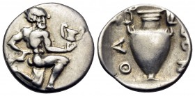 ISLANDS OFF THRACE, Thasos. Circa 411-340 BC. Trihemiobol (Silver, 12 mm, 0.89 g, 2 h). Satyr kneeling to right, his head turned 3/4 facing, holding a...