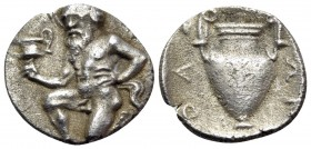 ISLANDS OFF THRACE, Thasos. Circa 411-340 BC. Trihemiobol (Silver, 11.5 mm, 0.81 g, 5 h). Bald satyr kneeling 3/4 to left, holding kantharos in his ri...