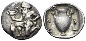 ISLANDS OFF THRACE, Thasos. Circa 411-340 BC. Trihemiobol (Silver, 12 mm, 0.79 g, 10 h). Bald satyr kneeling to left, holding kantharos in his right h...