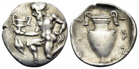 ISLANDS OFF THRACE, Thasos. Circa 411-340 BC. Trihemiobol (Silver, 12.5 mm, 0.81 g, 4 h). Bald satyr kneeling to left, holding kantharos in his right ...