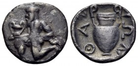ISLANDS OFF THRACE, Thasos. Circa 411-340 BC. Trihemiobol (Silver, 11 mm, 0.69 g, 1 h). Bald satyr kneeling to left, holding kantharos in his right ha...