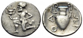 ISLANDS OFF THRACE, Thasos. Circa 411-340 BC. Trihemiobol (Silver, 12.5 mm, 0.89 g, 12 h). Bald satyr kneeling to left, holding kantharos in his right...
