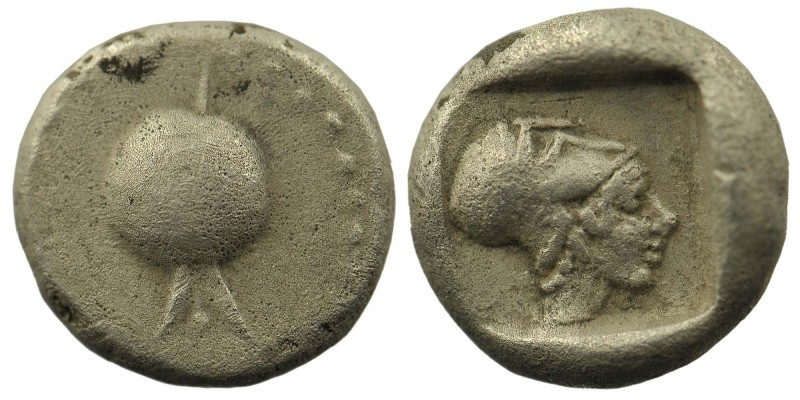 PAMPHYLIA, Side. Circa 460-430 BC. AR Third Stater . Obv: Pomegranate Rev: Head ...