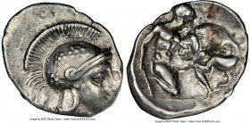 CALABRIA. Tarentum. Ca. 4th-3rd centuries BC. AR diobol (14mm, 4h). NGC VF, brushed. Head of Athena right, wearing crested Attic helmet decorated with...